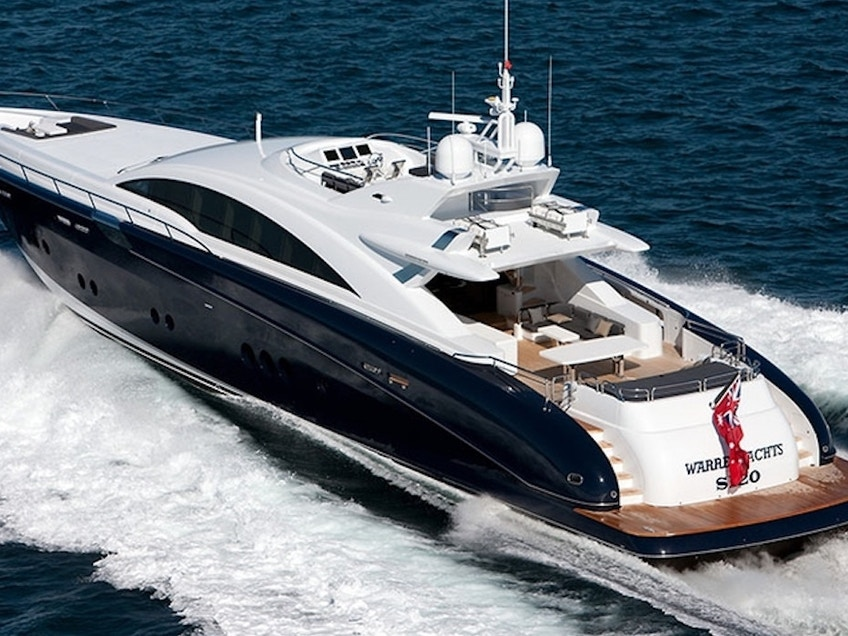 Stern aerial view of quantum super yacht hire 1